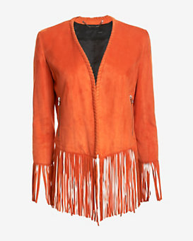 Barbara Bui Suede Fringe Jacket: Orange