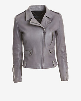 Barbara Bui EXCLUSIVE Studded Leather Moto Jacket: Grey
