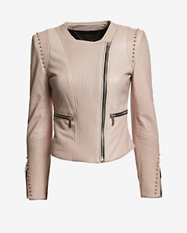 Barbara Bui EXCLUSIVE Collarless Stud Leather Jacket