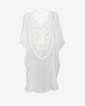 Miguelina Sheer Chiffon Lace Up Crochet Caftan
