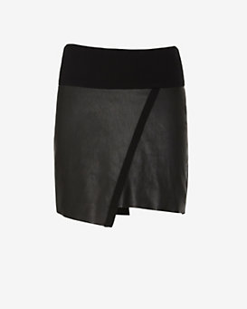 IRO Leather/Jersey Asymmetric Mini Skirt