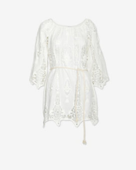 Miguelina Belted Embroidery Dress