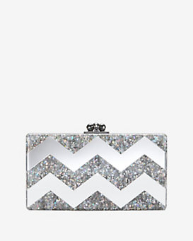 Edie Parker Jean Mirrored Chevron Metallic Clutch