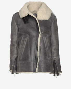 IRO Jenny Shearling Lined Distressed Leather Jacket