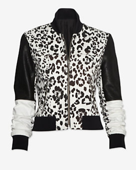 Nicholas Canvas Leopard Print Leather Combo Bomber Jacket