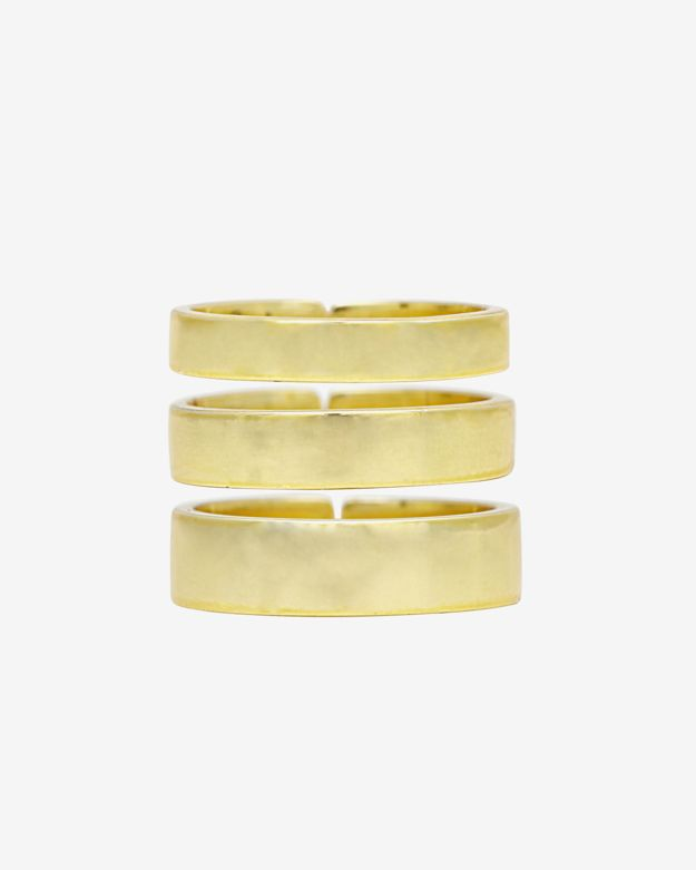 Lisa Freede Set Of 3 Solid Banded Rings: Gold