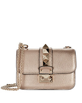 Valentino Mini Rockstud Lock Shoulder Bag: Rose Gold