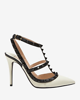 Valentino Rockstud Leather Cage Pump: Ivory/Black
