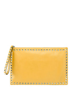 Valentino Rockstud Zip Top Pouch: Yellow