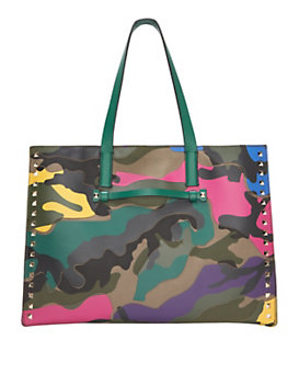 Valentino Rockstud Medium Camo Shopper Tote