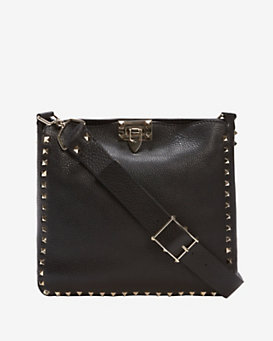 Valentino Rockstud Small Pebbled Leather Messenger: Black