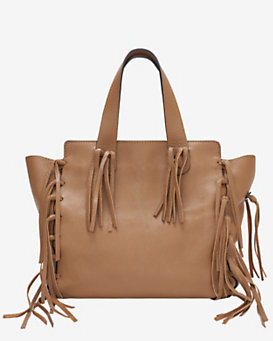 Valentino C Rockee Fringe Leather Tote: Brown