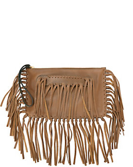 Valentino C Rockee Fringe Small Clutch: Brown