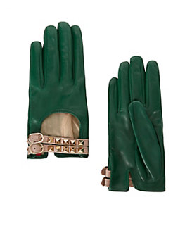 Valentino Rockstud Leather Driving Gloves