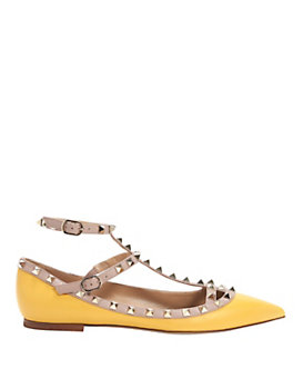 Valentino Cage Ballet Flat: Yellow