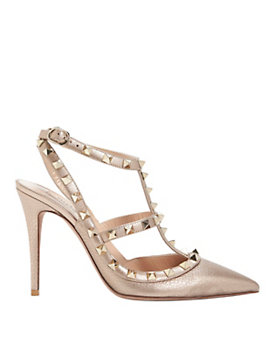 Valentino Rockstud Metallic Leather Cage Pump