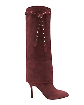 Valentino Rockstud Foldover Suede Boot: Burgundy