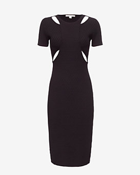 Jonathan Simkhai Hex Knit Cut Out Dress: Black