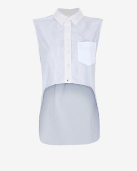 Jonathan Simkhai EXCLUSIVE Hi/Lo Sleeveless Oxford Shirt