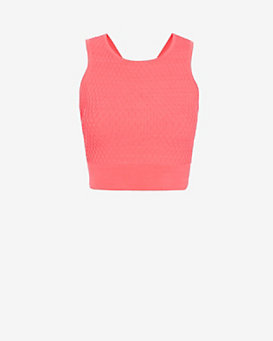 Jonathan Simkhai Cross Back Hex Knit Crop Top