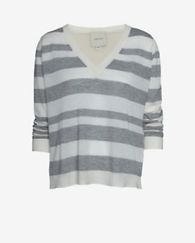 mason by michelle mason Chiffon Back Striped V Neck Sweater