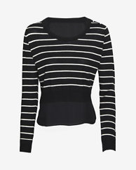 mason by michelle mason EXCLUSIVE Chiffon Back Striped Crop Sweater