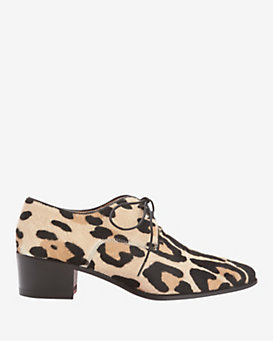 Barbara Bui Leopard Print Calfhair Lace-Up Loafers