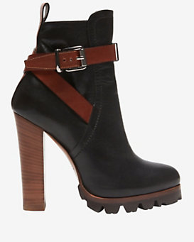 Barbara Bui Stack Heel Colorblock Ankle Strap Bootie