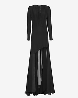 Barbara Bui Lace-Up Asymmetric Gown: Black