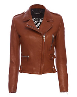 Barbara Bui EXCLUSIVE Classic Leather Moto Jacket: Brown