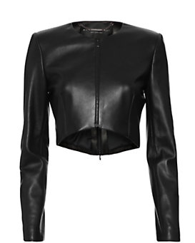 Barbara Bui Clean Crop Leather Jacket: Black