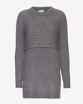 mason by michelle mason Double Layer Sweater Dress: Grey
