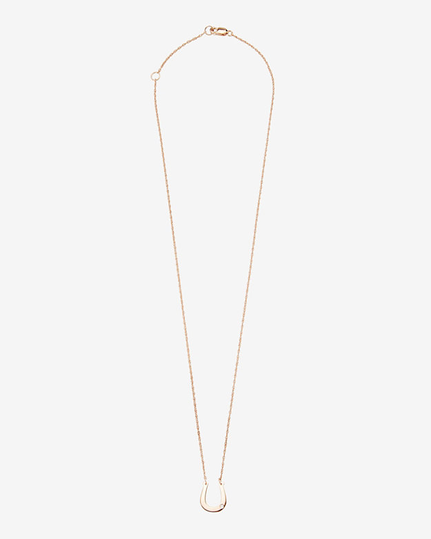 Jennifer Zeuner Kate 1/2 Horseshoe Diamond Detail Necklace