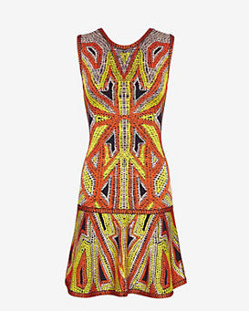 Herve Leger Cayenne Mosaic Print Stretch Dress