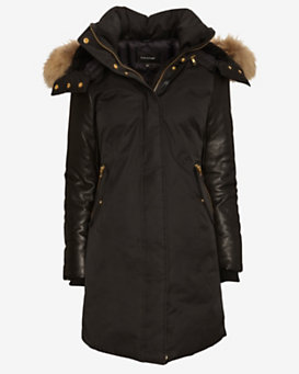 Mackage EXCLUSIVE Leather Sleeve Fur Hood Long Puffer Jacket