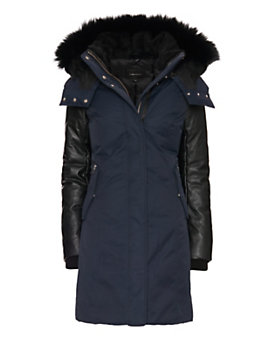 Mackage EXCLUSIVE Kerry Fur Trim/Leather Sleeve Parka