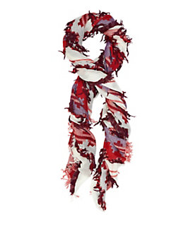 Essential Antwerp Jacquard Fringe Scarf: Red