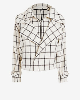 Kaelen Plaid Trench Jacket