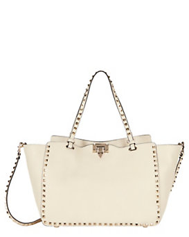 Valentino Rockstud Classic Medium Pebbled Leather Tote: Ivory