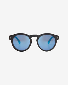Illesteva Leonard Mirrored Lense Sunglasses: Black/Blue