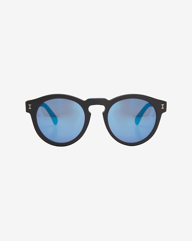 Illesteva Mirrored Lense Sunglasses: Black/Blue