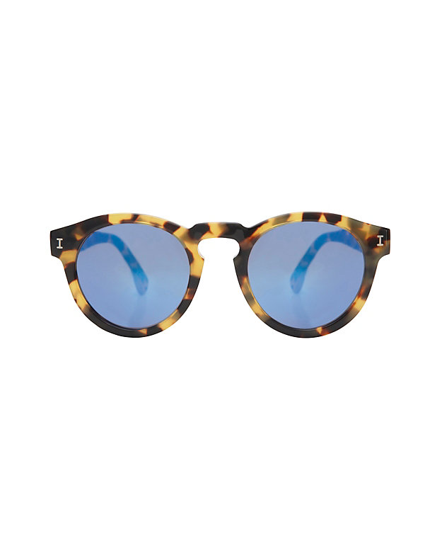 Illesteva Mirrored Lense Sunglasses: Tortoise