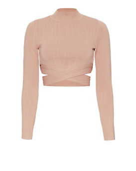 Jonathan Simkhai Crossover Knit Crop Turtleneck: Nude