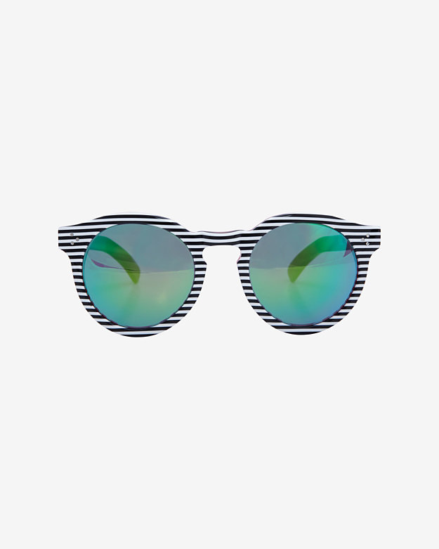 Illesteva Leonard II Striped Frame Mirrored Lense Sunglasses