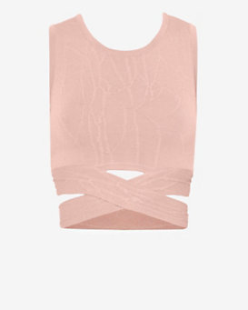 Jonathan Simkhai Crossover Knit Crop Top: Nude