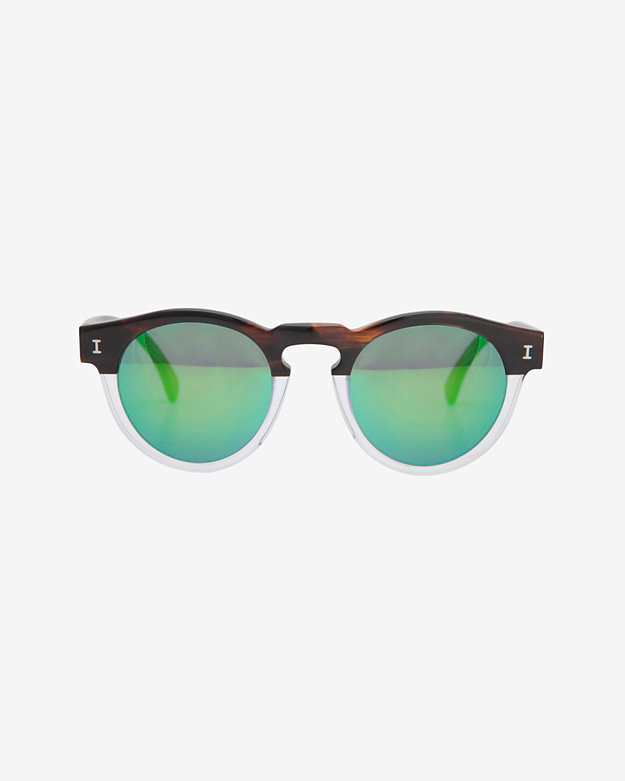 Illesteva Half/Half Mirrored Lense Sunglasses: Clear/Brown
