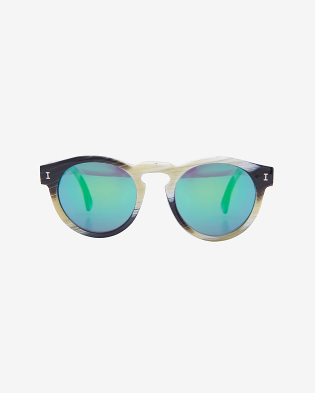 Illesteva Leonard II Green Mirrored Lenses Horn Sunglasses