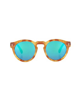 Illesteva Leonard Mirrored Lense Sunglasses: Amber/Green