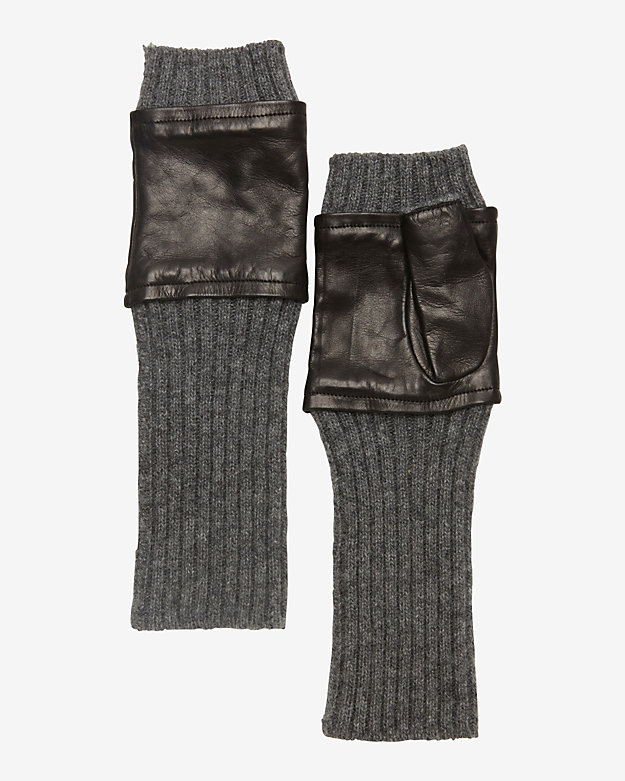 Carolina Amato Leather Fingerless Gloves