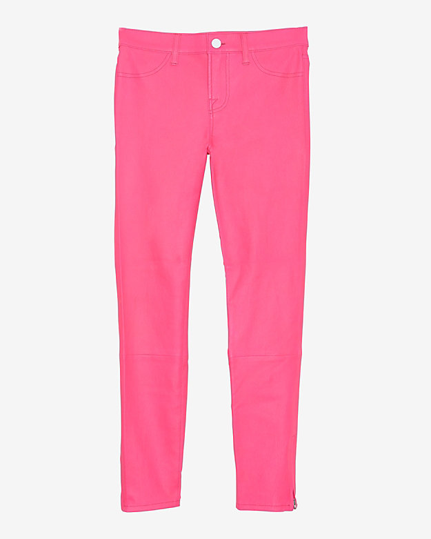 J Brand Crop Ankle Zip Leather Skinny: Pink
